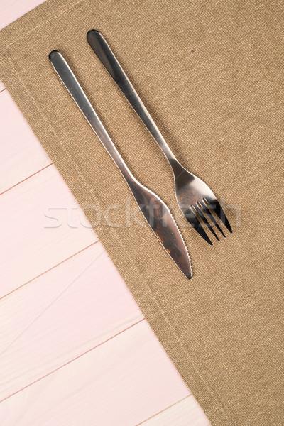 Utensili da cucina beige asciugamano legno tavolo da cucina Foto d'archivio © homydesign