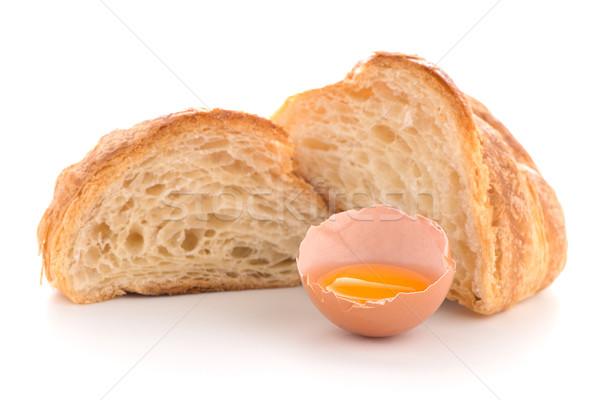Stock fotó: Croissant · nyers · tojás · friss · fehér · arany