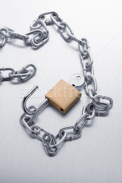 Stock foto: Silber · Kette · Metall · fertig · Stahl