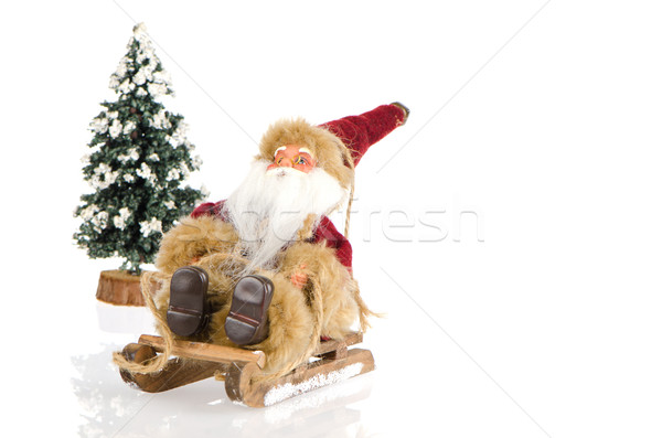 Miniatura Święty mikołaj sanie sosna śniegu biały Zdjęcia stock © homydesign