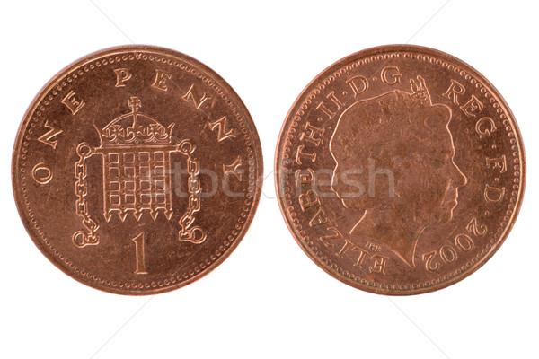 один пенни монеты белый деньги банка Сток-фото © homydesign