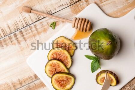 Bal ahşap masa seçici odak ahşap meyve cam Stok fotoğraf © homydesign