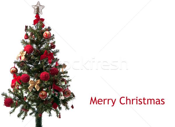 Arbre de noël isolé blanche joyeux Noël Photo stock © homydesign
