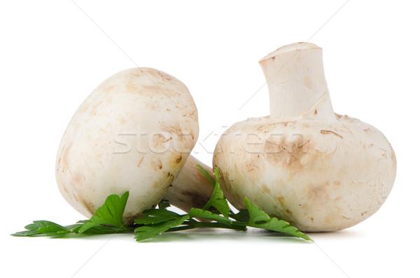 Champignon mushrooms and parsley leaves  Stock photo © homydesign