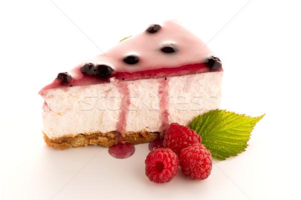 Sajttorta szelet fehér étel torta piros Stock fotó © homydesign