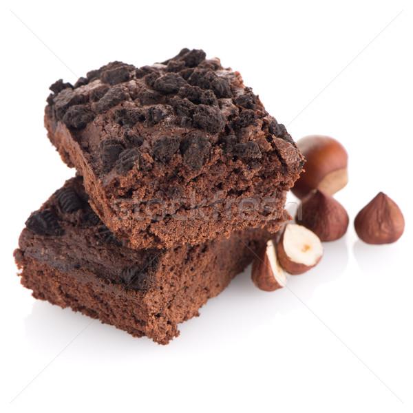 Stockfoto: Chocolade · dessert · witte · achtergrond · cake · eten