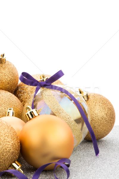 Golden christmas balls Stock photo © homydesign