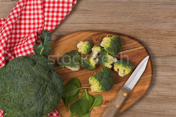 Zöld brokkoli fa asztal csoport tiszta diéta Stock fotó © homydesign