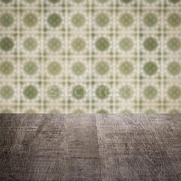 Ahşap masa üst bulanıklık bağbozumu seramik karo Stok fotoğraf © homydesign