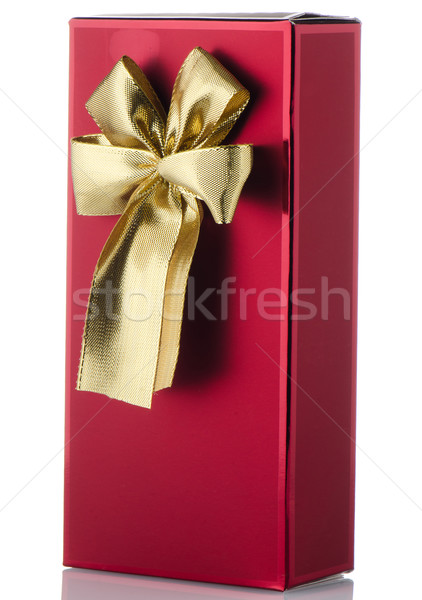 Red box with gold bow Stock photo © homydesign