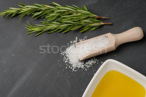 Cocina ingredientes cocina mediterránea aceite de oliva romero Foto stock © homydesign
