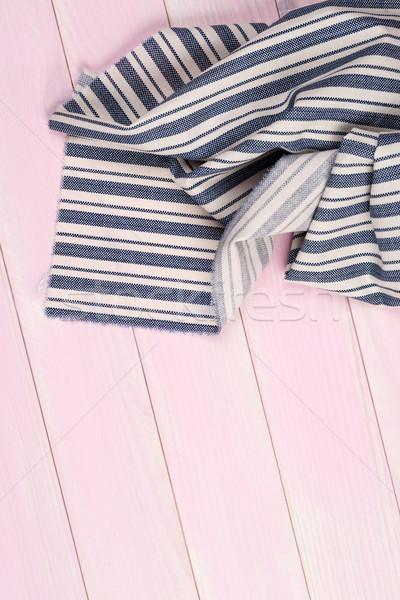 青 タオル 表 縞模様の 表面 木製のテーブル ストックフォト © homydesign