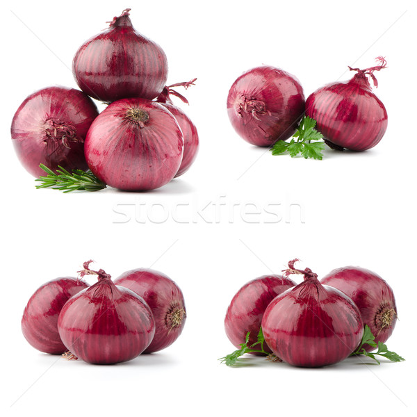 Rouge oignons isolé blanche route fruits Photo stock © homydesign