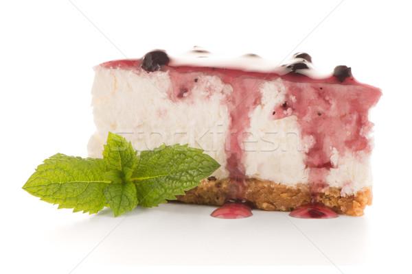 Foto stock: Bolo · de · queijo · fatia · branco · comida · bolo · vermelho