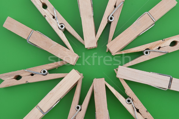 Star made of wooden clothes pegs Stock photo © homydesign