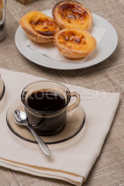 Foto stock: Natillas · café · café · negro · mesa · de · madera · textura · desayuno