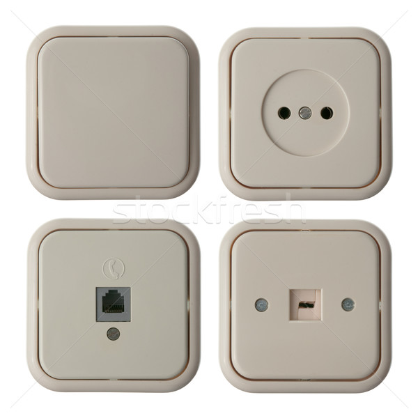 Four wall mounted electrical plates Stock photo © homydesign