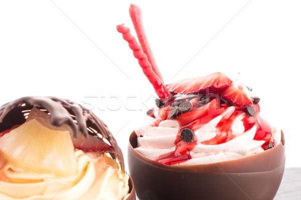 Strawberry and chocolate pastry mousse Stock photo © homydesign
