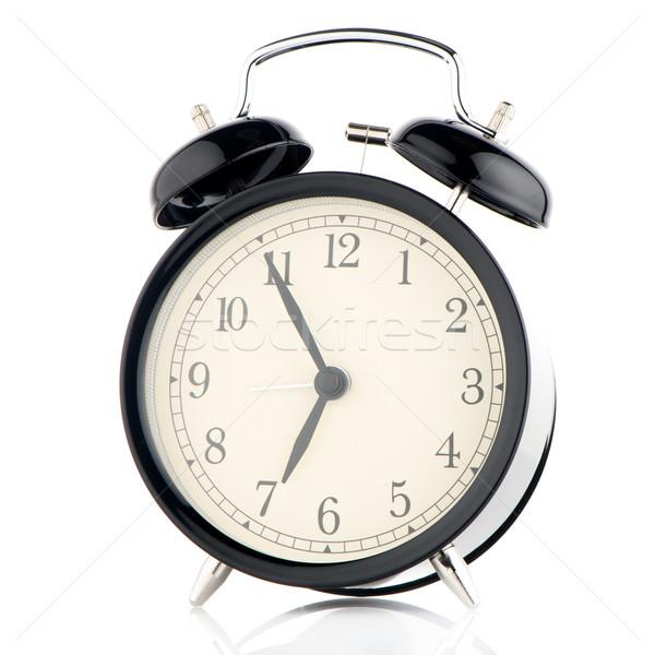ódivatú ébresztőóra fehér kéz háttér idő Stock fotó © homydesign