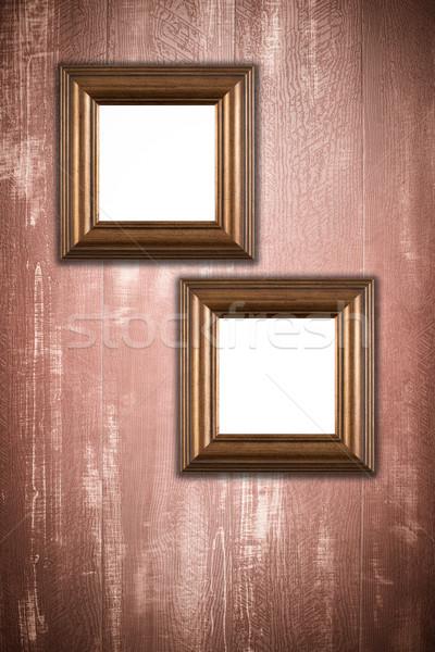 古い 画像フレーム ヴィンテージ 木材 壁 背景 ストックフォト © homydesign