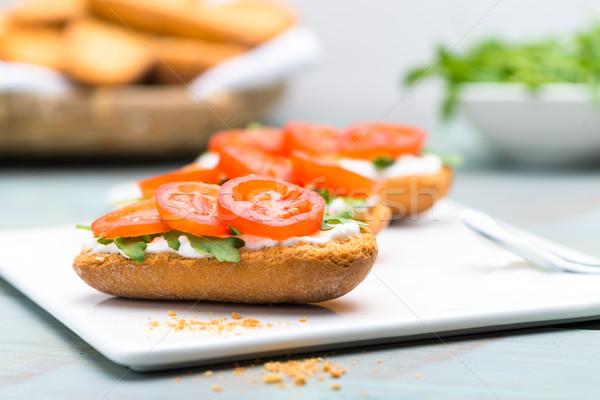 Bruschetta with cottage cheese Stock photo © homydesign