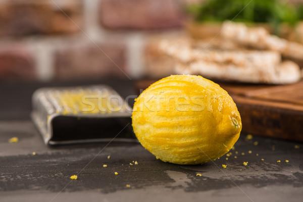 Lemon zest on kitchen countertop Stock photo © homydesign