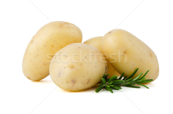 Stock photo: New potatoes and green herbs