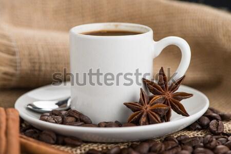 Foto d'archivio: Tazza · di · caffè · tela · ruvida · fagioli · rustico