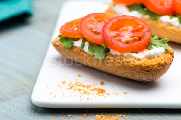Bruschetta with cottage cheese Stock photo © homydesign