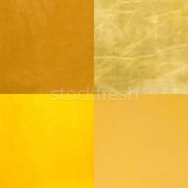 Set of yellow leather samples Stock photo © homydesign