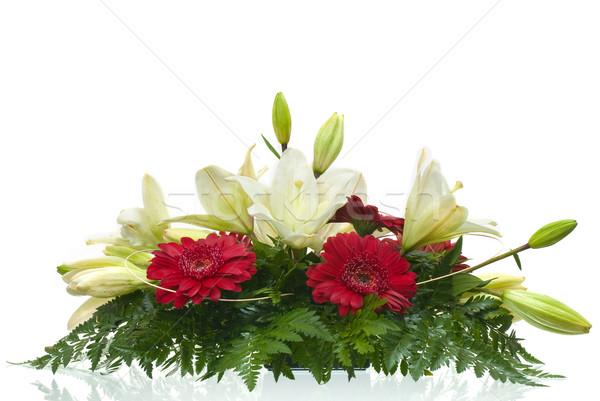 Asztal virágcsokor virágok részlet fehér természet Stock fotó © homydesign