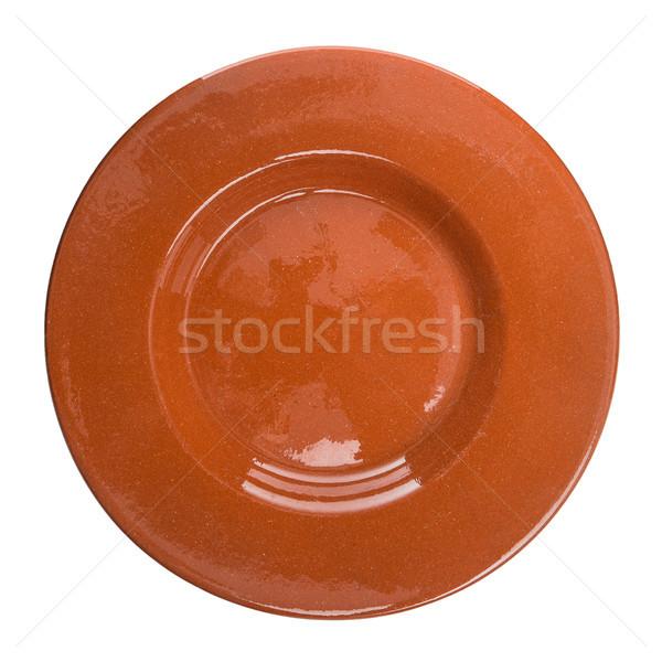 Rood keramische plaat geïsoleerd witte ontwerp Stockfoto © homydesign
