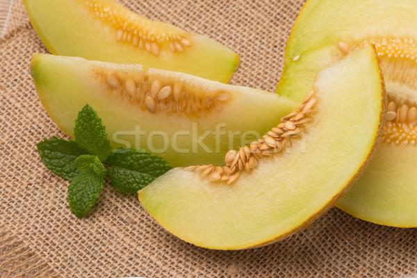 Melone succosa tavolo in legno frutta sfondo estate Foto d'archivio © homydesign