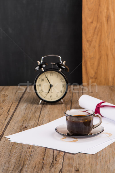 Old clock, hat, coffee and paper sheets Stock photo © homydesign