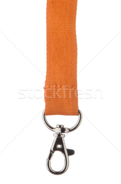 Oranje koord chroom metaal haak geïsoleerd Stockfoto © homydesign