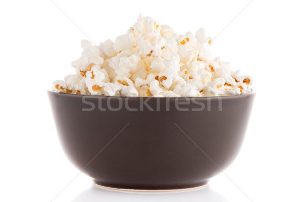 Popcorn in a brown bowl Stock photo © homydesign