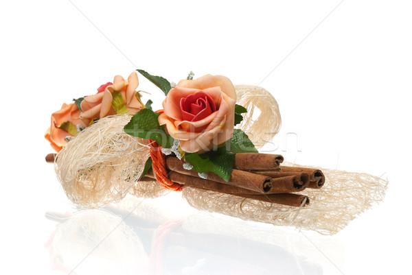 Bloem arrangement mooie geïsoleerd witte rozen Stockfoto © homydesign