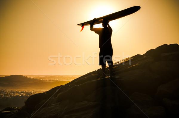 Сток-фото: долго · смотрят · волны · закат · Португалия · воды