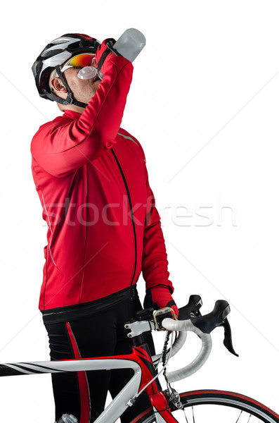 Cyclist drinking water Stock photo © homydesign