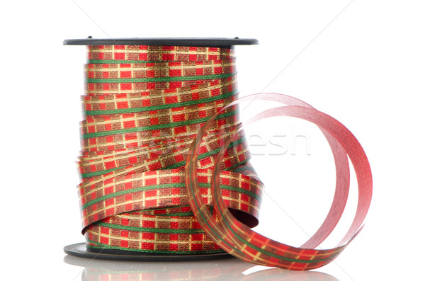 Carretel decorativo branco fundo vermelho Foto stock © homydesign