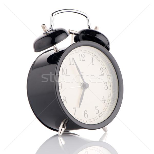 Ouderwets wekker witte hand achtergrond tijd Stockfoto © homydesign