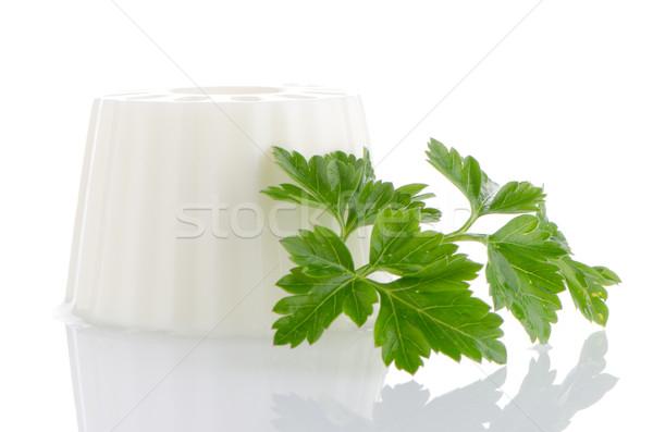 Stok fotoğraf: Süzme · peynir · maydanoz · yaprak · yalıtılmış · beyaz · peynir