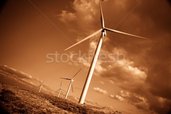 風力タービン 劇的な 太陽 光 黄色 空 ストックフォト © homydesign