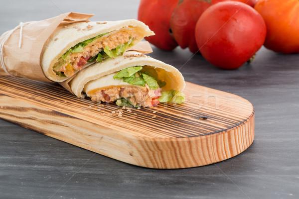 トルティーヤ 鶏 野菜 チョーク ボード 表 ストックフォト © homydesign