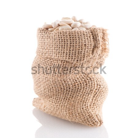Stock photo: Uncooked chickpeas on burlap bag