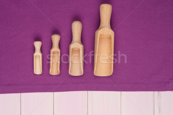Kitchenware on purple towel Stock photo © homydesign