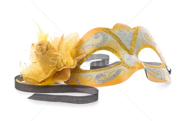 黄色 ベネチアンマスク パーティ 白 目 美 ストックフォト © homydesign
