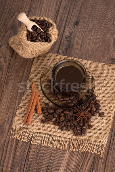 Tazza di caffè tela ruvida fagioli rustico Foto d'archivio © homydesign