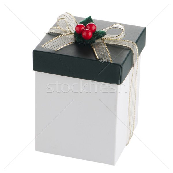 White and green box with gold bow Stock photo © homydesign