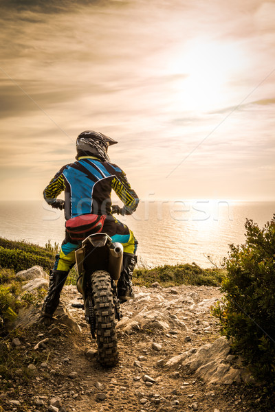 Enduro bike rider Stock photo © homydesign